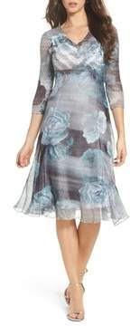 Komarov Floral A-Line Chiffon Dress