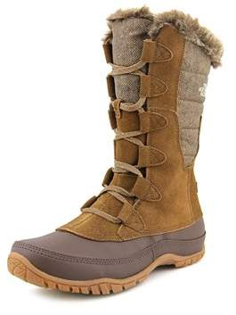 The North Face Nuptse Purna Men Round Toe Suede Brown Snow Boot.