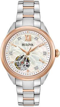 Bulova Women's Automatic Diamond Accent Two-Tone Stainless Steel Bracelet Watch 34mm 98P170