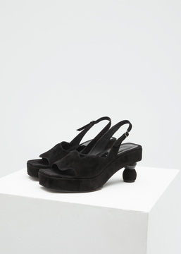 Dries Van Noten Black Suede Wave Sandal