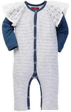 7 For All Mankind Lace & Stripe Two-fer Coverall (Baby Girls)