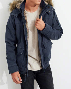 Hollister Faux-Fur-Lined Twill Bomber Jacket