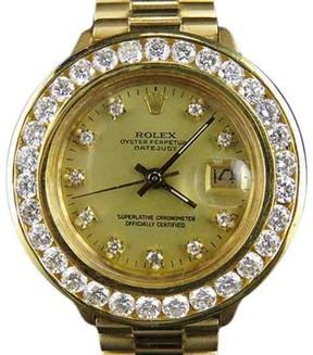 Rolex President Datejust 18K Yellow Gold 69178 3.5 Ct Diamond 26mm Watch
