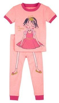 Petit Lem Little Girl's Two-Piece Princess Pajama Set