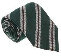 Missoni U5145 Green/grey Regimental 100% Silk Tie.