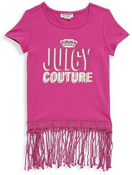 Juicy Couture Little Girl's Logo Fringed-Hem Top - Pink-multi, Size 6