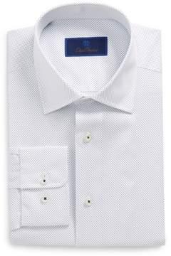 David Donahue Men's Regular Fit Dot Dress Shirt