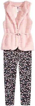 Beautees 2-Pc. Faux-Fur Vest, & Leggings Set, Big Girls (7-16)