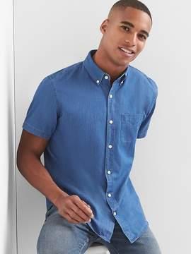 Gap Indigo twill short sleeve standard fit shirt