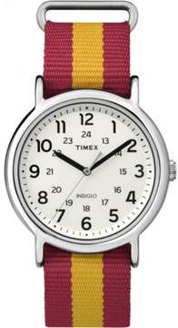 Timex Weekender Varsity Row Striped Nylon Strap w University Colors Casual Watch