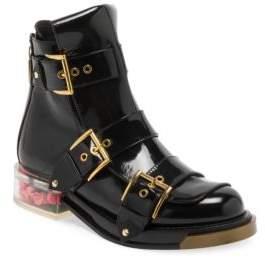 Alexander McQueen Rose Bud Heel Patent Leather Boots