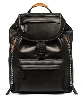 MCM Killian Men's Medium Leather Logo Backpack, Black