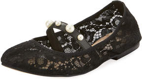 Neiman Marcus Courtney Lace Ballerina Flat, Black