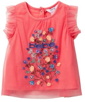 Bebe Embroidered Tulle Top (Baby Girls)