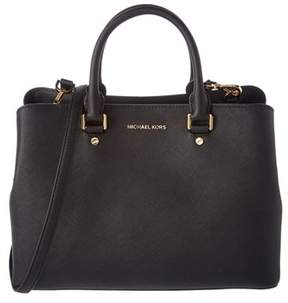 MICHAEL Michael Kors Savannah Large Leather Satchel. - BLACK - STYLE