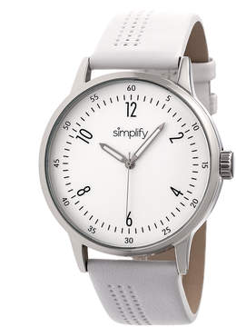 Simplify Silver & White The 5700 Leather-Strap Watch