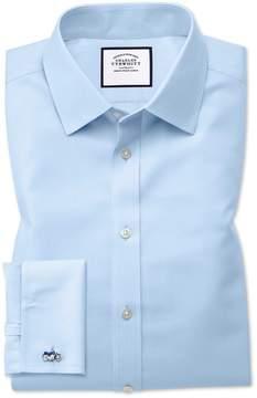 Charles Tyrwhitt Slim Fit Non-Iron Twill Sky Blue Cotton Dress Shirt Single Cuff Size 14.5/32