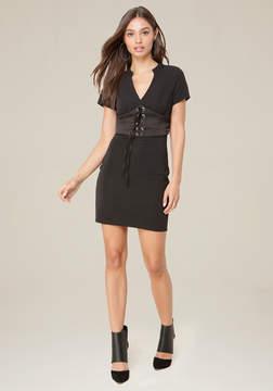 Bebe Textured Knit Corset Dress