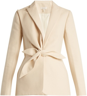 DELPOZO Single-breasted draped-appliqué cotton jacket