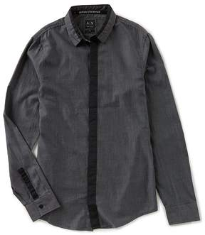Armani Exchange Solid Denim Long-Sleeve Woven Shirt