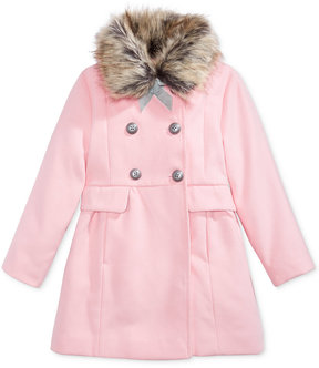 Jessica Simpson Dress Coat with Faux-Fur Trim, Little Girls (4-6X)