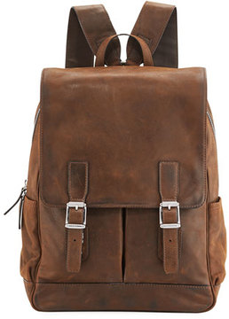 Frye Oliver Distressed Leather Buckle Backpack, Brown
