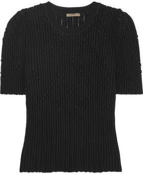 Bottega Veneta Metallic Ribbed Wool-blend Sweater - Black