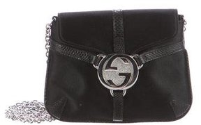 Gucci Satin Reins Karung-Trimmed Evening Bag - BLACK - STYLE