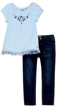 Hudson Stripe Jersey & Jegging 2-Piece Set (Toddler Girls)