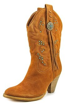 Very Volatile Fiddle Round Toe Leather Western Boot.