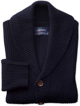 Charles Tyrwhitt Navy Rib Shawl Collar Wool Cardigan Size Large