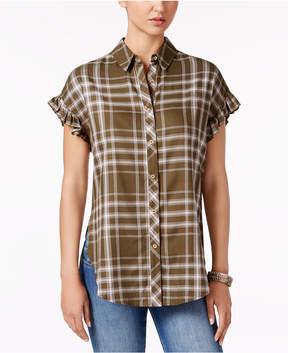 Buffalo David Bitton Markus Plaid Ruffle-Cuff Shirt