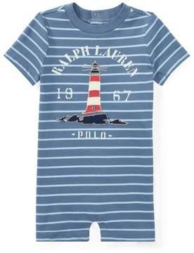 Ralph Lauren | Cotton Jersey Graphic Shortall | 18-24 months | Capri blue/bluebell