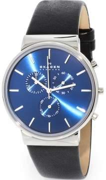 Skagen Men's Ancher SKW6105 Black Leather Analog Quartz Fashion Watch