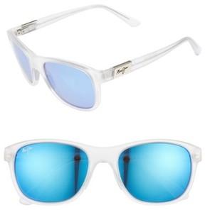 Maui Jim Men's Wakea 55Mm Polarized Sunglasses - Frosted Crystal/ Blue Hawaii