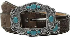 Ariat A1521644-M 1.5 in. Womens Floral Embellished Cross Concho Belt, Brown - Medium