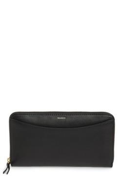 Women's Skagen Leather Continental Wallet - Black
