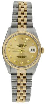 Rolex Datejust 16233 Stainless Steel & Gold Champagne Diamond Dial 18K Gold Bezel Mens Watch