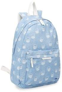 Stella McCartney Kid's Bang Skull-Print Denim Backpack