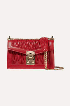 Miu Miu Matelassé Leather Shoulder Bag - Red