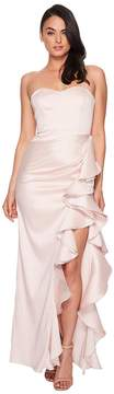 Badgley Mischka Strapless Twill Ruffle Gown Women's Dress