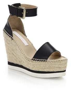 See by Chloe Glyn Leather Espadrille Wedge Platform Sandals