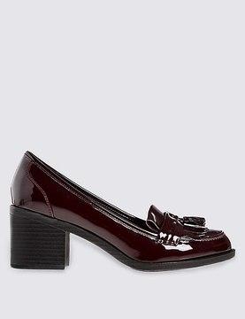 Marks and Spencer Wide Fit Block Heel Fringe Loafers