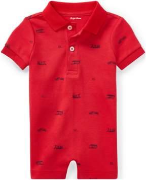 Ralph Lauren | Cotton Interlock Polo Shortall | 18-24 months | Red flag multi