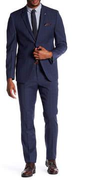 Original Penguin Notch Collar Windowpane Print Trim Fit Wool Blend Suit