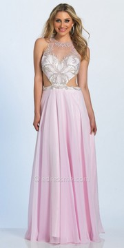 Dave and Johnny Stone Embellished Open Back Chiffon Prom Dress