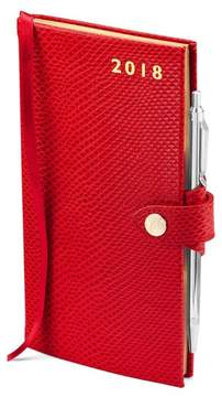 Aspinal of London Slim Pocket Leather Diary With Pen In Berry Lizard