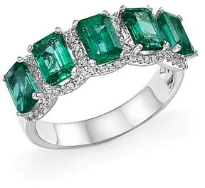 Bloomingdale's Emerald and Diamond Band Ring in 14K White Gold - 100% Exclusive