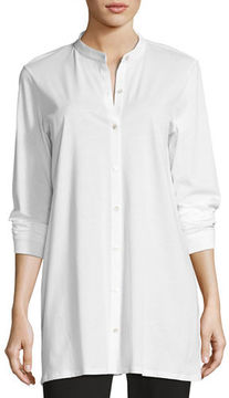 Eileen Fisher Mandarin-Collar Easy Organic Jersey Tunic