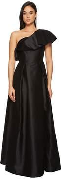 Adrianna Papell One Ruffle Shoudler Faille Long Gown Women's Dress